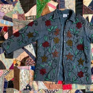 Vintage PAPILLON Floral Appliqué Padded Jacket